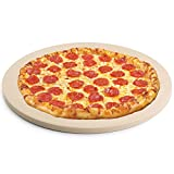FIRECOW Heavy Duty Ceramic Pizza Grilling Stone, 15 Inch Round Baking Stone, Pizza Pan, Perfect for Oven, BBQ and Grill, Thermal Shock Resistant, Durable and Safe, 6.5lbs