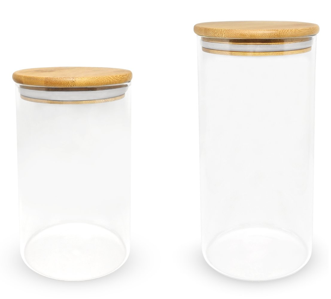 Glass Canister (2-Pack) with Bamboo Lid for Food Nuts Candy Coffee Tea Food Storage (1 Large, 1 Small) Grace