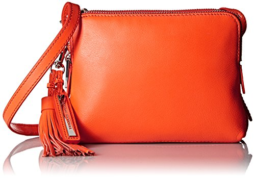 LOEFFLER RANDALL Triple Zip Nappa Leather Cross Body, Tangerine, One (Nappa Leather Cross Body)