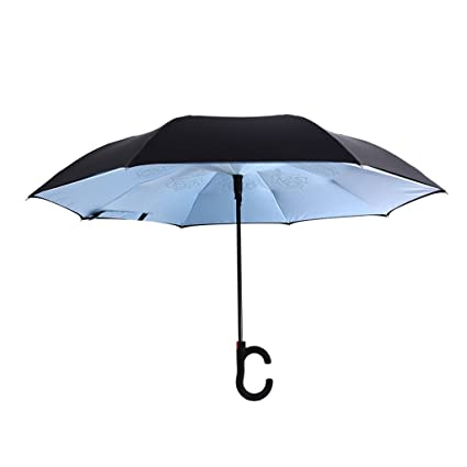 Paraguas reversible creativo libre doble capa de color sólido anti-hueso semiautomático paraguas abierto par