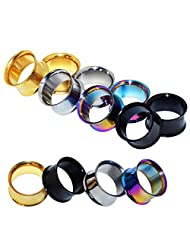 D&M Jewelry 4 Pairs Stainless Steel Double Twin Flare Flesh Tunnel Ear Plug Gauges 8g-5/8""