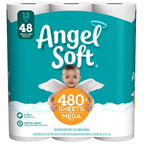 Angel Soft Toilet Paper, 12 Mega Rolls, 12 = 48 Regular Rolls, 484 Sheets per roll - Packaging May Vary (Angel Soft 4 Pack Toilet Paper Price)