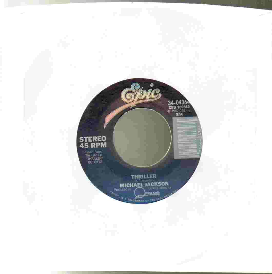 Thriller / Can't Get Outta The Rain 45 RPM Single by EPIC 34-04364