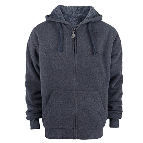 Heavyweight 1.8 lb Full-Zip Sherpa Lined Fleece Hoodies for Men Plus Sizes S - 5XL Men's Solid Jackets Dark Grey Medium