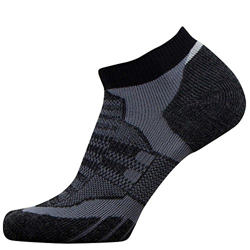 Kids No-Show Wool Running Socks - Children Ultra-Light Merino Wool Athletic Socks, Trail Socks (S/M, Black/Grey) - Kid Merino Yarn
