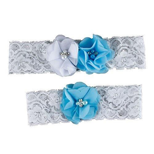 Women's Wedding Garter Set Toss Away, Throw Away Bridal White Lace Garter, 2 pc (Turquoise)