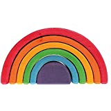 "Grimms Large 6-Piece Rainbow Stacker - Nesting Wooden Waldorf Blocks, ""Elements"" of Nature: AIR"