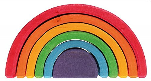 Grimm's 6-Piece Rainbow Stacker - Nesting Wooden Waldorf Blocks,