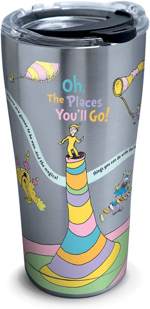 Tervis Dr. Seuss - Oh The Places You'll Go Stainless Steel Insulated Tumbler with Lid, 20 oz, Silver