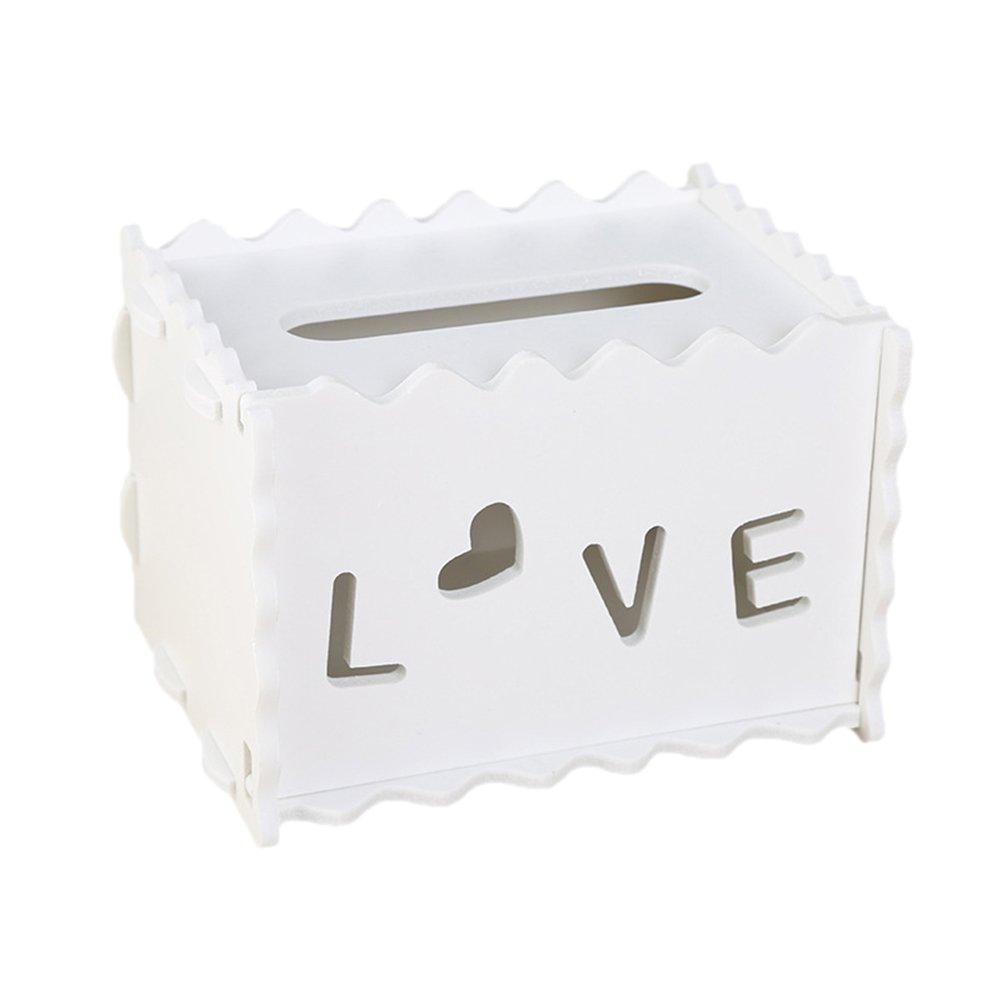 gespout Box vibrazione di finitura di tessuto impermeabile asciugamano di carta Box Tissue Box protezione ambientale kosmetiktuecherbox PVC Legno di plastica da tavolo soggiorno carta asciugamani contenitore, Foglie, 16*13*11.5cm