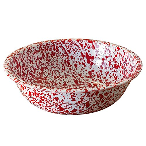 - Enamelware Basin, 4 quart, Red/White Splatter