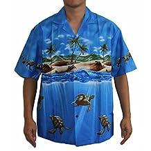 MEN'S TURTLE BAY HAWAIIAN ALOHA SHIRT, 2XL, NAVY BLUE