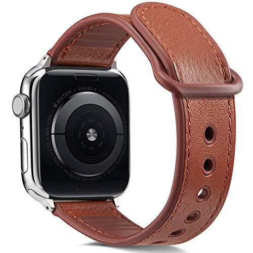 Pierre Case Compatible with Apple Watch Band 42mm 44mm Leather,Sweatproof Genuine Leather with Silicone Hybrid Bands Replacement Straps for iWatch Series 4 44mm Series 3/2 /1 42mm Women Men(Brown