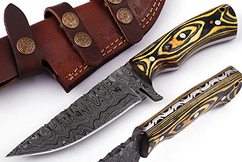 Grace Knives Handmade Damascus Steel Knife Hunting Knife Bowie Knife 9.25 Inches with Leather Sheath G-015 L