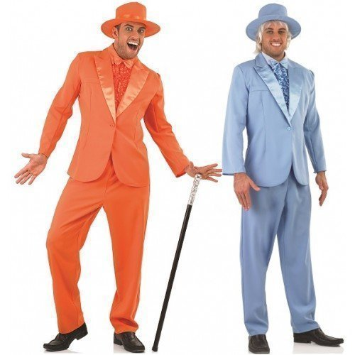 [Couples Mens Dumb AND Dumber 1990s Decades Film Jim Carey Jeff Daniels TV Stag Do Fancy Dress Costumes Outfit (Orange Suit XL & Blue Suit L) by Fancy] (90s Costumes Couples)