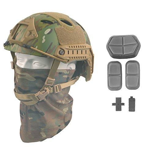 LOOGU Fast PJ Base Jump Military Helmet with 12-in-1 Headwear(MC)