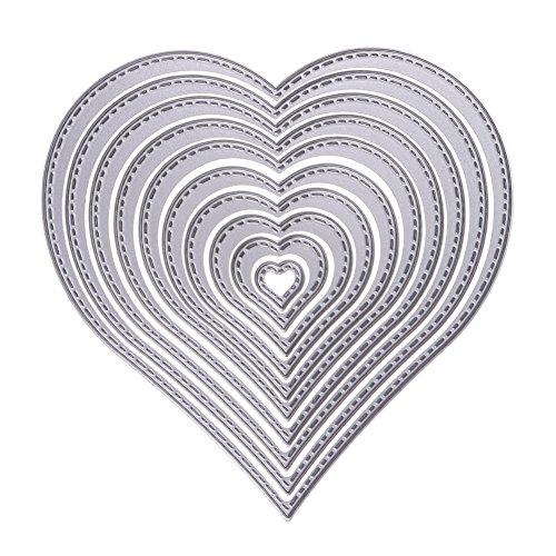 Whitelotous Metal Cutting Dies Stencil Template Mould for DIY Scrapbook Album Paper Card (10 pcs Heart)