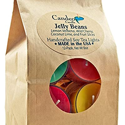 Jelly Beans, Scented Soy Tealights, 12 Pack Clear Cup Candles