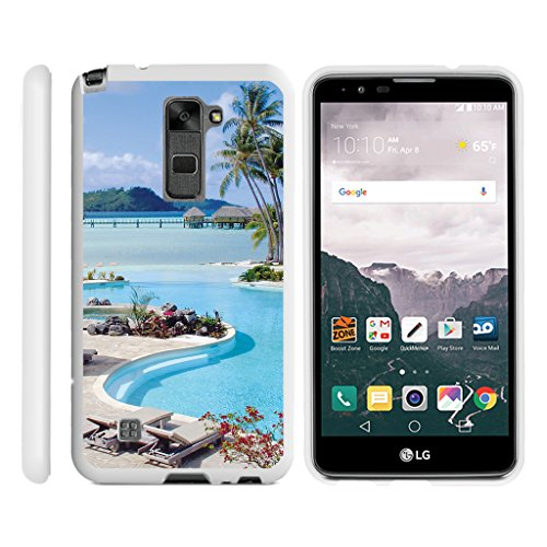 TurtleArmor | Compatible with LG Stylus 2 Case | LG G Stylo 2 Case [Slim Duo] Fitted Ultra Slim Hard Cover Rubberized Snap On Shell on White Beach - Swimming Pool