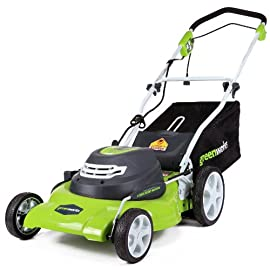 GreenWorks MO40L410 G-MAX 40V 20-Inch Cordless 3-in-1 Lawn Mower with Smart Cut Technology, (1) 4Ah Battery and Charger included 124 Includes (1) Max Capacity 4 AH - 40V Lithium Battery , Cutting Heights - 5 Position Durable 20'' Steel Deck lets you Mulch, Bag, or Side Discharge allowing you to maintain your yard the way you want it. This Lawn Mower is not self-propelled Innovative Smart Cut technology automatically increases the speed of the blade when more power is needed