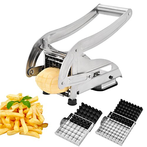 Stainless Steel French Fry Cutter (MILA Stainless Steel French Fry Cutter with 2 Interchangeable Blades and Suction Base for Vegetables Like Potato Cucumber Carrot Home Kitchen Tool)