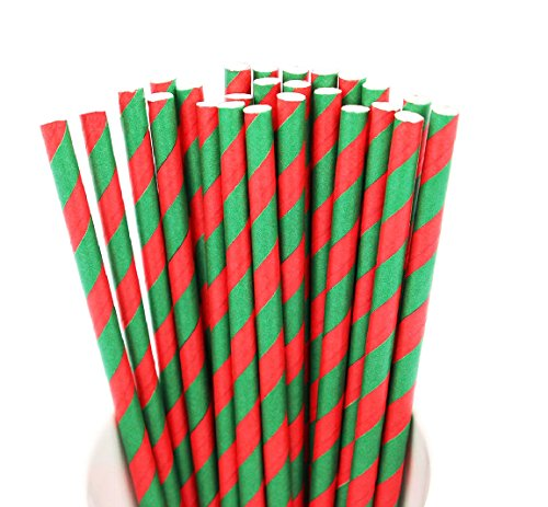 Just Sip It Biodegradable Vintage Paper Drinking Straws, Christmas Striped, Pack of 50 21 Social Christmas