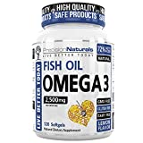 Fish Oil Omega 3 Vitamin/EPA and DHA Supplement 120 Count Capsules/Softgels 2500mg/Ser Pharmaceutical Grade Triple Strength Fish Oil With Natural Lemon Flavor Supports Heart Health Brain Development