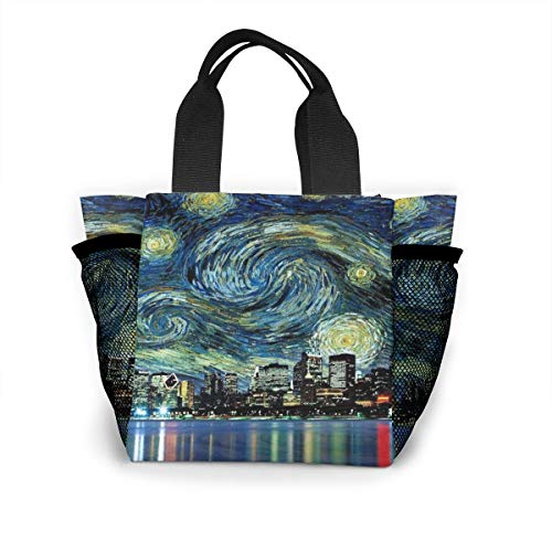 Fjb11 Lunch Handbag with Water Bottle Holder for Women, Chicago Cityscape Night Printed Multipurpose Snack, Picnic Tote Bag -