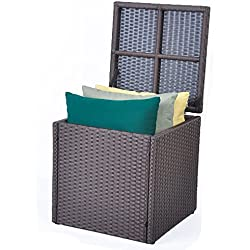 ART TO REAL Outdoor Patio Resin Wicker Deck Box Storage Container Bench Seat, 21 Gallon, Anti Rust (17.7'' 17.72'' 17.72'', Espresso)