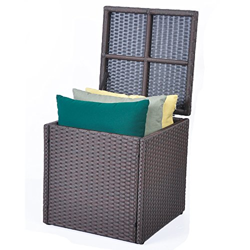 Outdoor Patio Resin Wicker Deck Box Storage Container Bench Seat, 21 Gallon, Anti Rust, All Weather Resistant (17.7'' 17.72'' 17.72'', Espresso) (Container Patio Storage Cushion)