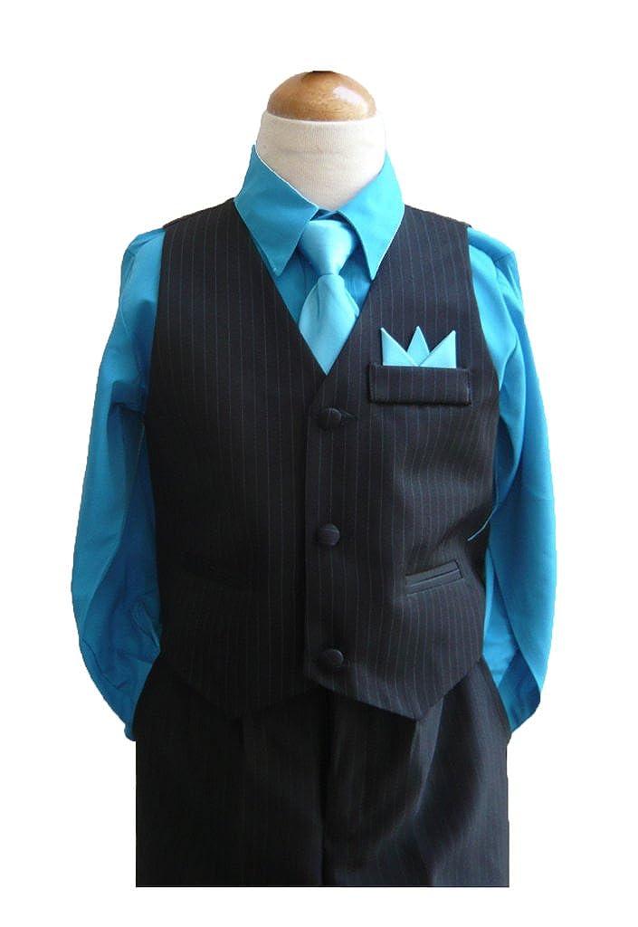 Classykidzshop Black Turquoise Boy Vest Set (Size 12)