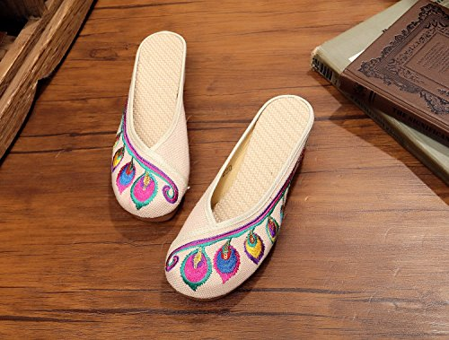 Feather Women Sandals Casual 5cm Slippers Wedges Canvas Shoes Embroidered Beige 8dwpqS