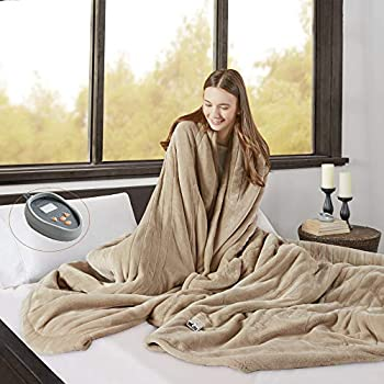 Beautyrest Microlight to Berber Elect Electric Blanket with Two 20 Heat Level Setting Controllers, Queen, Tan