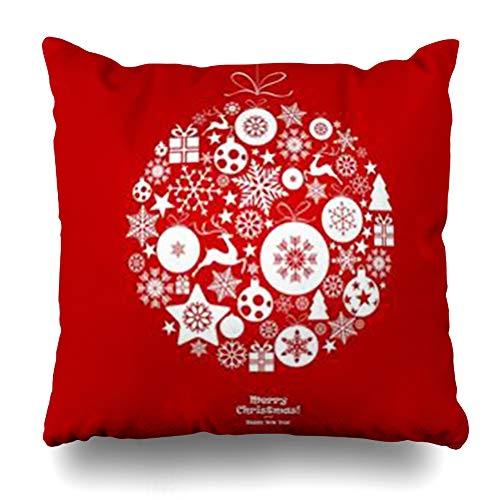 AileenREE Throw Pillow Covers Gingerbread 22Red Christmas Balls Snowflakes Hanging Tree Red Holidays Ball22 Angel Bauble Bell White Pillowcase Square Size 16 x 16 Inches Home Decor Cushion Cases ()