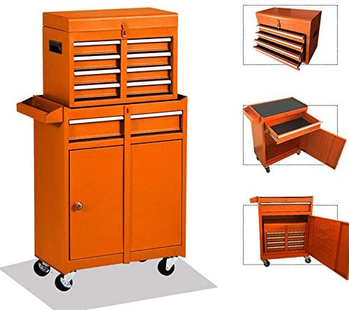 5 Drawers Rooling Tool Box,Tool Chest with Wheels, Tool Storage Cabinet,4 Movable Rollers Tool Chest,Large Capacity Tool Box for Garage, Warehouse NEW orange