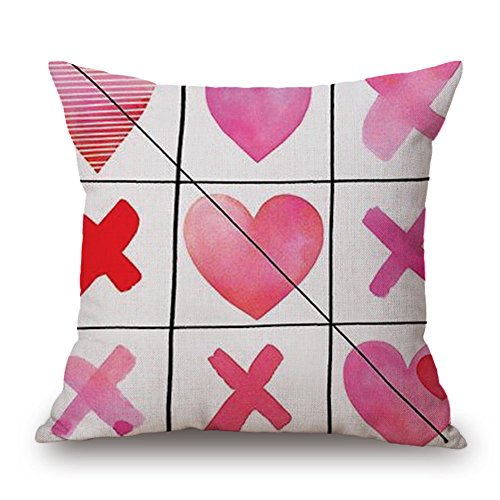 GOVOW Valentines Day Decorations Throw Pillow Case Sweet Love Square Cushion Cover on (Sofa Chesterfield Material)