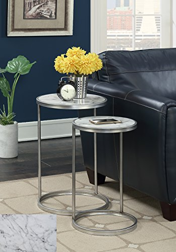 Faux Marble Accents (Convenience Concepts 413555S Gold Coast Nesting End Tables Faux Marble, Faux Marble/Silver)