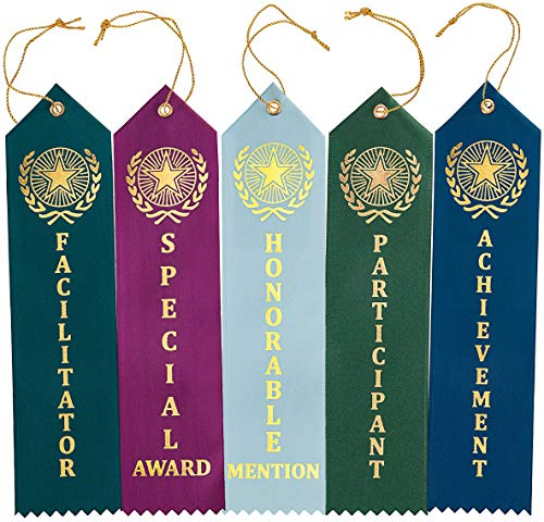 Clinch Star Flat Carded Award Ribbons Participant - Honorable Mention - Special Award - Achievement - Facilitator - with Event Card 12 Each - 60 Pack]()
