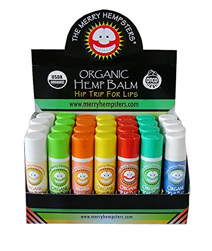 Counter Balm Lip Display (The Merry Hempsters Organic Hemp Lip Balm 7 Flavor Assortment Display Case (28-Pack))