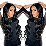 Berimy Brazilian Virgin Hair 130% Density Full Lace Human Hair Wigs Body Wave Glueless Remy Hair Lace Front Wig with Baby Hair For Black Woman 10-26 Inches 1B Color (Lace Front Wig 16inch)