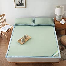 Summer sleeping mat Foldable Air-conditioned Mat Ice Silk Mat 1.5m Bed 3-piece Student Dormitory Smooth Mat 1.8m (Color : Green, Size : 1.5m (5 ft) bed)