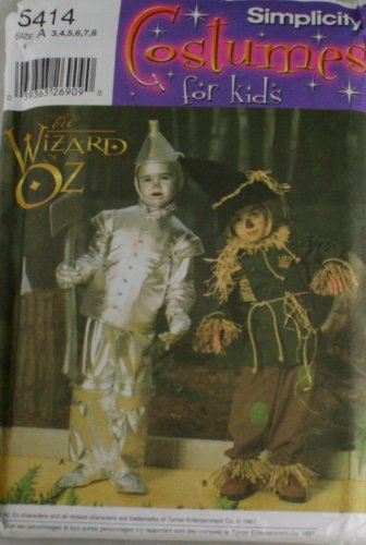 Simplicity Pattern 5414 Childs Wizard of Oz Costumes Size A 3,4,5,6,7,8 - Wizard Of Oz Diy Costumes