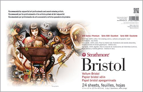 Strathmore (580-42 500 Series Sequential Art Bristol, 2-Ply Vellum Surface, 24 Sheets by Strathmore
