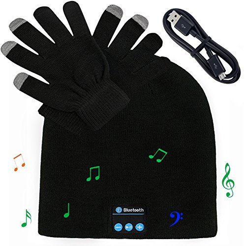 Bluetooth Knit Hat Headphones, Winter Beanie Slouchy Skullies Cap and Touchscreen Gloves Mitts for Men & Women, Wireless Stereo Heatsets Speaker Microphone and Volume Control (Black Hat +Black Gloves)