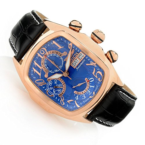 Invicta 18920 Men's Dragon Lupah Swiss Made Automatic SW500 Chronograph Day and Date Blue Dial 18KT Rose-Gold Plated Case Genuine Black Leather Strap Watch