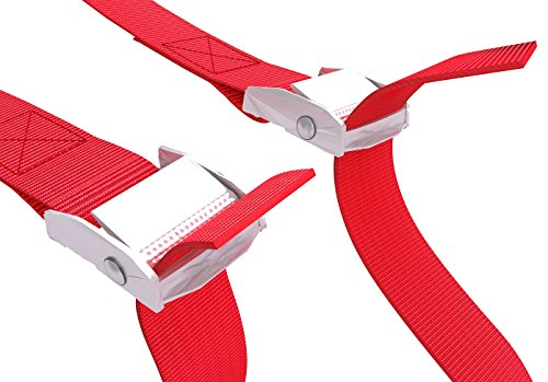 Lashing Strap 2 Pcs / Set, Red Tie Down Cargo Straps for Trail Car Roof Rack, Cam Buckle Heavy Load Lashing Straps for Trailer Truck Tie Downs Lashing Strap Kit, Carry Strap 4,7 Feet 1 Inch -