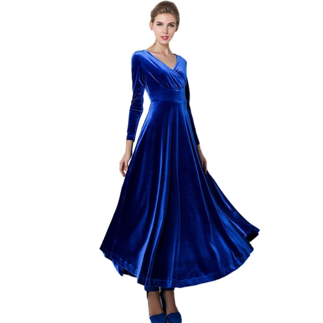 Clearance!Hot Sale!Women Dress Daoroka Sexy Plus Size V Neck Velvet Swing Casual Evening Party Ball Gown Maxi Long Ankle Skirt (L, Blue)