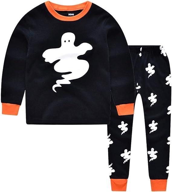 Unisex Cotone Due Pezzi Pigiama Halloween per Regalo di Autunno e Inverno Stampa Teschio Chickwin Pigiama Set a Maniche Lunga per Bambini Ragazzi e Ragazze