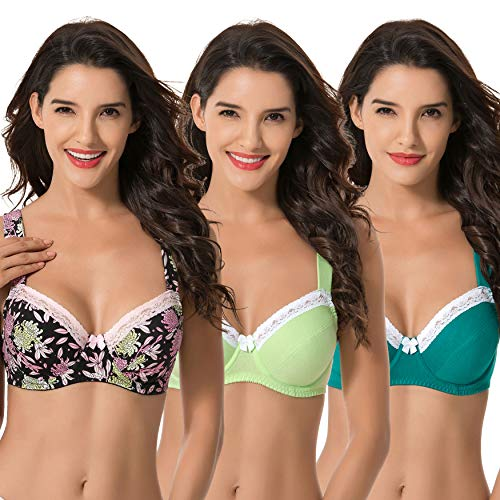 (Curve Muse Women's Plus Size Underwired Unlined Balconette Cotton Bra With-3Pack-DARK Green,Lemon,Black PRINT-36DD)