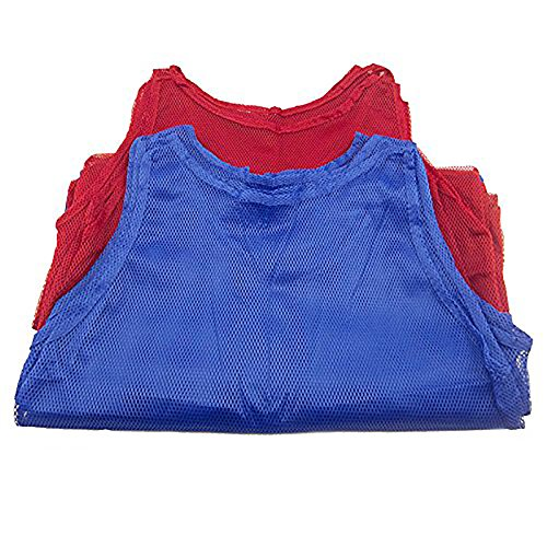 Adorox 24 Pack Adult - Teens Scrimmage Practice Jerseys Team Pinnies Sports Vest Soccer, Football, Basketball, Volleyball (12 Red and 12 (Nylon Jersey)